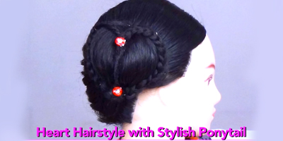 Heart Ponytail Hairstyle for Medium to Short Hair By KhoobSurati.com