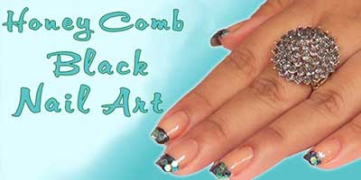 Honey Comb Black Nail Art Design – Do it Yourself | KhoobSurati.com